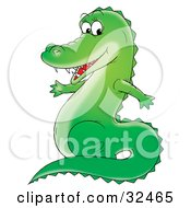 Sharp Toothed Green Gator Smiling At The Viewer And Sitting Up On Its Hind Legs