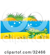 Clipart Illustration Of A Green Crawdad Swimming At The Bottom Of A Blue River