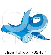 Clipart Illustration Of A Swimming Blue Hammerhead Shark