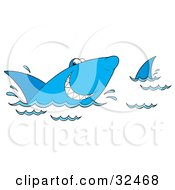Clipart Illustration Of A Grinning Blue Shark Swimming At The Surface Of Water