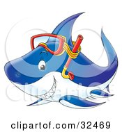 Clipart Illustration Of A Grinning Blue Shark Wearing Snorkel Gear On Its Head