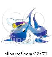 Clipart Illustration Of A Grinning Captain Shark Swimming With A Hat