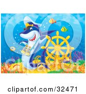 Poster, Art Print Of Captain Shark With Binoculars Leaning On A Sunken Ships Helm On A Reef