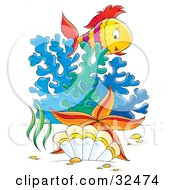 Clipart Illustration Of A Starfish By A Clam In Front Of Corals And A Fish Swimming