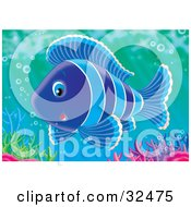 Poster, Art Print Of Cute Striped Blue Fish Swimming With Bubbles Over Colorful Corals