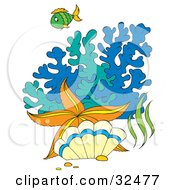 Clipart Illustration Of A Green Fish Orange Starfish And Clam By Colorful Blue And Green Corals