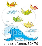 Clipart Illustration Of A Group Of Colorful Flying Fish Above A Wave by Alex Bannykh