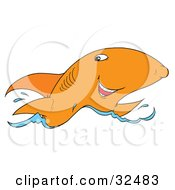 Clipart Illustration Of A Grinning Orange Shark Swimming On The Surface Of Water