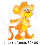 Clipart Illustration Of A Friendly Orange Monkey Smiling At The Viewer And Gesturing With One Hand #32489 by Alex Bannykh