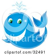Clipart Illustration Of A Happy Blue Whale With Green Eyes Spraying Water Through Its Spout