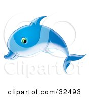 Blue Dolphin With Green Eyes Swimming Past In Profile