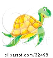 Clipart Illustration Of A Happy Swimming Green Sea Turtle With A Yellow Shell by Alex Bannykh