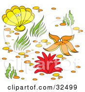 Clipart Illustration Of A Yellow Clam Orange Starfish And Red Anemone On A Sea Floor