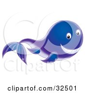 Clipart Illustration Of A Cute Gradient Blue To Purple Whale Grinning While Swimming Past