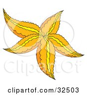 Clipart Illustration Of An Orange Starfish With Yellow Lines