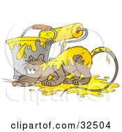 Clipart Illustration Of A Nervous Rat By A Bucket And Paintbrush With Yellow Paint On His Back