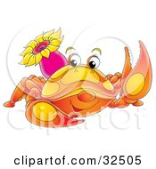 Clipart Illustration Of A Cute Orange Crab With A Purple Sea Anemone On Its Back