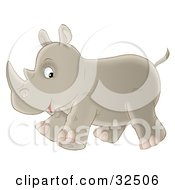 Clipart Illustration Of A Cute Baby Rhino Glancing At The Viewer While Running Past by Alex Bannykh
