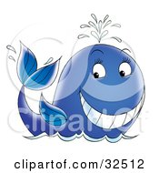 Clipart Illustration Of A Friendly Blue Whale Waving And Spurting Water Through Its Spout