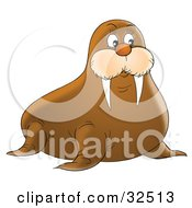Clipart Illustration Of A Cute Brown Walrus With Short But Sharp Tusks by Alex Bannykh