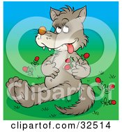 Clipart Illustration Of A Sick Wolf Rubbing His Tummy After Eating Too Many Wild Strawberries by Alex Bannykh