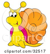 Friendly Yellow Snail With A Pink And Orange Shell