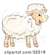 Clipart Illustration Of A Smiling And Happy Lamb With Fluffy Wool