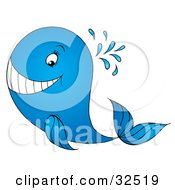 Clipart Illustration Of A Spraying Blue Whale Grinning