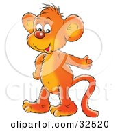Clipart Illustration Of A Happy Orange Monkey Smiling And Gesturing While Talking #32520 by Alex Bannykh
