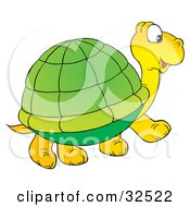 Clipart Illustration Of A Cute Yellow Tortoise With A Green Shell Walking To The Right by Alex Bannykh