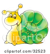 Happy Yellow Snail With A Green Shell