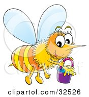 Clipart Illustration Of A Happy Honeybee Carrying A Pail Of Honey