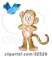 Clipart Illustration Of A Bluebird Flying Over And Socializing With A Curious Monkey