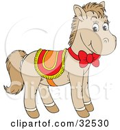 Cute Beige Pony Wearing A Red Yellow And Orange Saddle And Bow