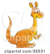 Clipart Illustration Of A Cute Orange Kangaroo In Profile Facing To The Right