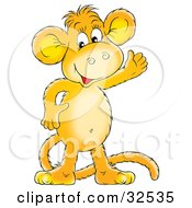 Clipart Illustration Of A Happy Orange Monkey Smiling And Waving #32535 by Alex Bannykh