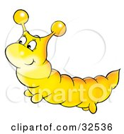 Clipart Illustration Of A Cute Yellow Caterpillar by Alex Bannykh