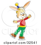 Clipart Illustration Of A Happy Beige Rabbit In Clothes Ice Skating