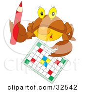 Clipart Illustration Of A Brown Crab Holding Up A Pencil And A Word Puzzle by Alex Bannykh