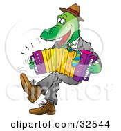 Clipart Illustration Of An Energetic Alligator Wearing Clothes Dancing And Playing An Accordion by Alex Bannykh