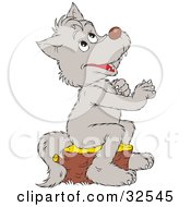 Clipart Illustration Of A Cute Gray Wolf Praying Sitting On A Tree Stump And Looking Up by Alex Bannykh