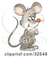 Clipart Illustration Of A Cute Gray Mouse Standing And Thinking by Alex Bannykh