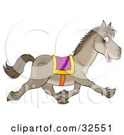 Clipart Illustration Of A Happy Gray Saddled Horse Glancing At The Viewer While Running Past