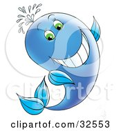 Clipart Illustration Of A Grinning Green Eyed Blue Whale Spraying Water Out Through Its Spout