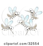 Group Of Happy Mosquitoes Socializing