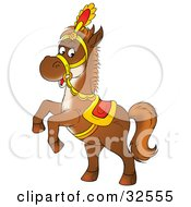 Clipart Illustration Of A Saddled Brown Horse Rearing Up On Its Hind Legs