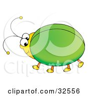 Clipart Illustration Of A Cute And Chubby Green Beetle With A Yellow Head by Alex Bannykh