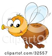 Clipart Illustration Of A Hairy Brown Fly Glancing While Flying Past