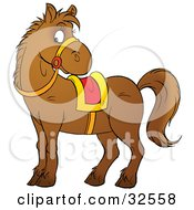 Clipart Illustration Of A Brown Pony Wearing Reins And A Yellow And Red Saddle by Alex Bannykh