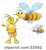 Clipart Illustration Of A Yellow Ant Socializing With Flying Bees